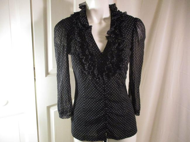 INC International Concepts Ruffled Polka Dot Button Down Onm 001 Top black & white Image 9