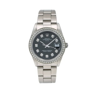 Rolex Rolex Oyster Perpetual Date 15000 34MM Black Diamond Dial With 1.05 CT
