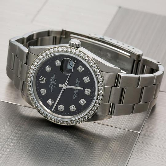 Rolex Rolex Oyster Perpetual Date 15000 34MM Black Diamond Dial With 1.05 CT Image 1