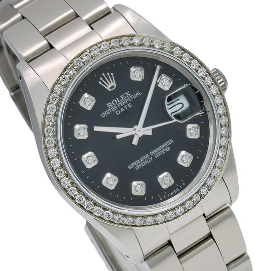 Rolex Rolex Oyster Perpetual Date 15000 34MM Black Diamond Dial With 1.05 CT Image 2