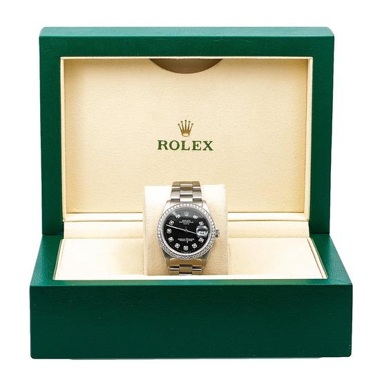 Rolex Rolex Oyster Perpetual Date 15000 34MM Black Diamond Dial With 1.05 CT Image 5
