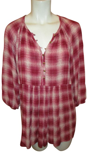 Preload https://img-static.tradesy.com/item/25367518/mauve-red-and-white-anthropologie-34-sleeve-plaid-tunic-size-6-s-0-1-650-650.jpg