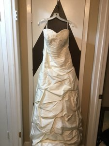 Moonlight Bridal Ivory Taffeta Collection Strapless Never Altered Zip Up Back with Throughout A Traditional Wedding Dress Size 16 (XL, Plus 0x)