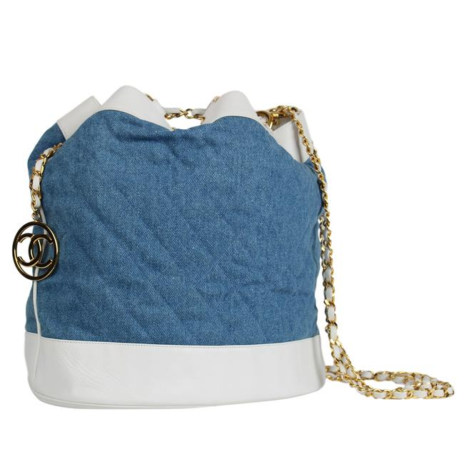 Item - Quilted Denim and 7339 Blue Lambskin Leather Backpack