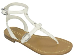 Prada T-bar Caged Flat WHITE Sandals