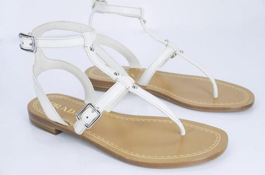 Prada T-bar Caged Flat WHITE Sandals Image 1