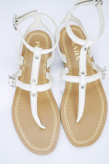 Prada T-bar Caged Flat WHITE Sandals Image 2
