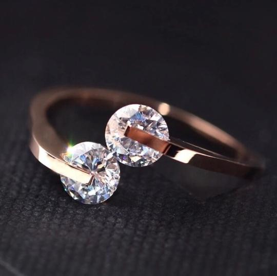 Other Ladies Never Fade Gold Double Crystal Ring Image 1