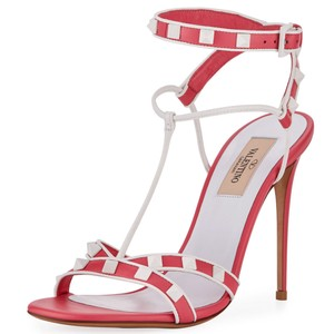 Valentino Made In Italy Luxury Designer Rockstud Ankle Wrap Two Tone Pink Sandals