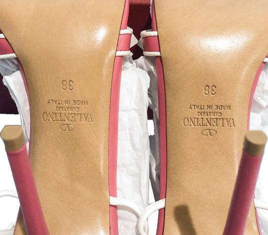 Valentino Made In Italy Luxury Designer Rockstud Ankle Wrap Two Tone Pink Sandals Image 10