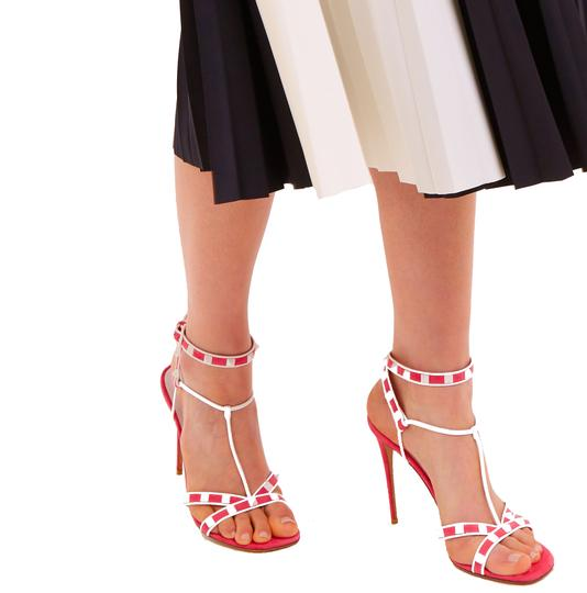 Valentino Made In Italy Luxury Designer Rockstud Ankle Wrap Two Tone Pink Sandals Image 2