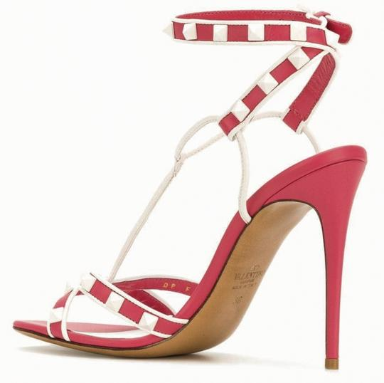 Valentino Made In Italy Luxury Designer Rockstud Ankle Wrap Two Tone Pink Sandals Image 4