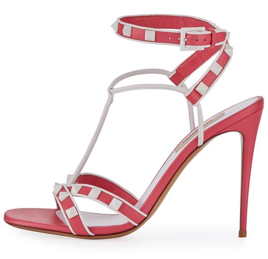 Valentino Made In Italy Luxury Designer Rockstud Ankle Wrap Two Tone Pink Sandals Image 5