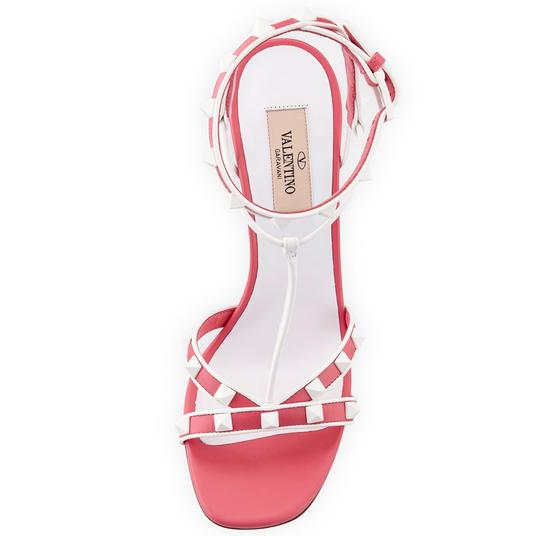 Valentino Made In Italy Luxury Designer Rockstud Ankle Wrap Two Tone Pink Sandals Image 7