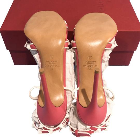 Valentino Made In Italy Luxury Designer Rockstud Ankle Wrap Two Tone Pink Sandals Image 9