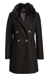 Topshop Double Breasted Faux Fur Pea Coat