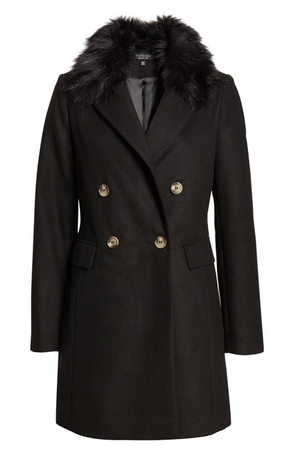 Topshop Double Breasted Faux Fur Pea Coat Image 0