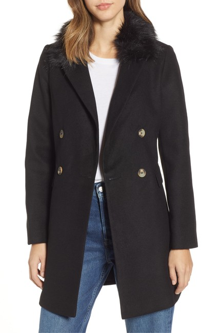 Topshop Double Breasted Faux Fur Pea Coat Image 1