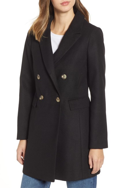 Topshop Double Breasted Faux Fur Pea Coat Image 2