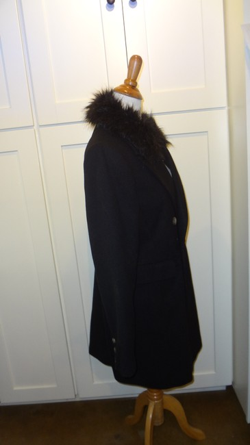 Topshop Double Breasted Faux Fur Pea Coat Image 3