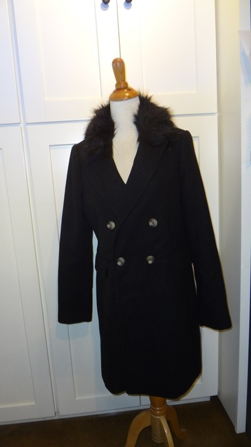 Topshop Double Breasted Faux Fur Pea Coat Image 4