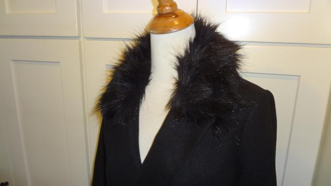 Topshop Double Breasted Faux Fur Pea Coat Image 6