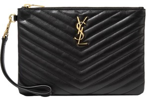 Saint Laurent Ysl Monogram Pouch Black Clutch