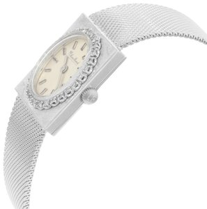 Lucien Piccard Oval Dial Square Face 14k White Gold Ladies Watch