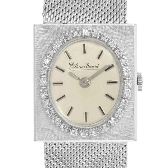 Lucien Piccard Oval Dial Square Face 14k White Gold Ladies Watch Image 1