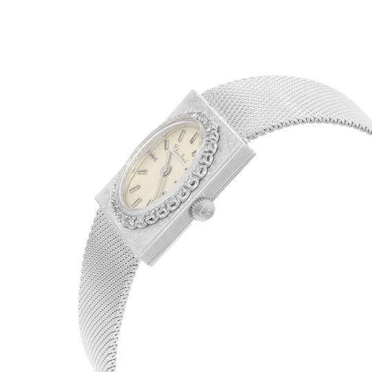 Lucien Piccard Oval Dial Square Face 14k White Gold Ladies Watch Image 2