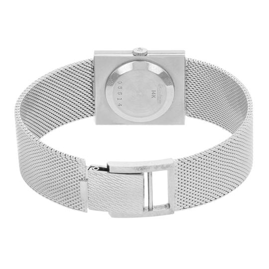 Lucien Piccard Oval Dial Square Face 14k White Gold Ladies Watch Image 3