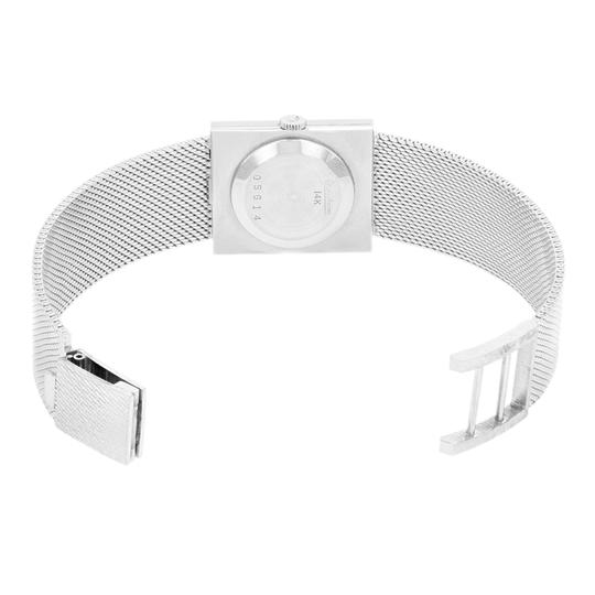 Lucien Piccard Oval Dial Square Face 14k White Gold Ladies Watch Image 4