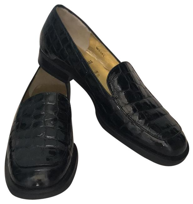 Item - Black Croc Print Loafers Flats Size US 5.5 Narrow (Aa, N)