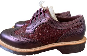 Dr. Martens Made In England Limited Edition Leather Glitter Rare Cherry red Flats