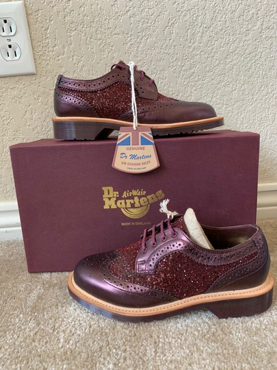 Dr. Martens Made In England Limited Edition Leather Glitter Rare Cherry red Flats Image 1