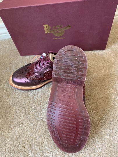 Dr. Martens Made In England Limited Edition Leather Glitter Rare Cherry red Flats Image 2