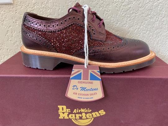 Dr. Martens Made In England Limited Edition Leather Glitter Rare Cherry red Flats Image 4