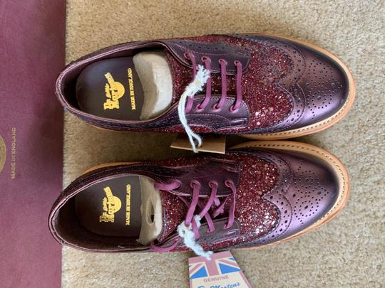 Dr. Martens Made In England Limited Edition Leather Glitter Rare Cherry red Flats Image 5
