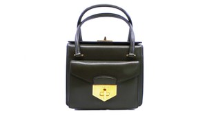 Prada Gold Leather Tote in Green