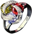 Unique Jewels vintage ruby multicolor diamond gemstone twisted knot infinity engagement wedding cocktail fashion silver plated emerald amethyst statement ring Image 0