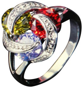 Unique Jewels vintage ruby multicolor diamond gemstone twisted knot infinity engagement wedding cocktail fashion silver plated emerald amethyst statement ring