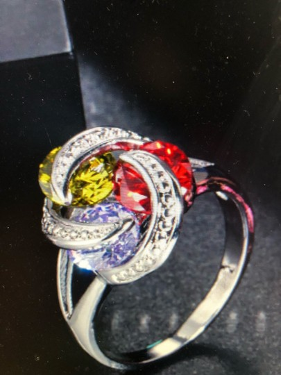 Unique Jewels vintage ruby multicolor diamond gemstone twisted knot infinity engagement wedding cocktail fashion silver plated emerald amethyst statement ring Image 1
