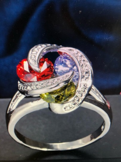 Unique Jewels vintage ruby multicolor diamond gemstone twisted knot infinity engagement wedding cocktail fashion silver plated emerald amethyst statement ring Image 2