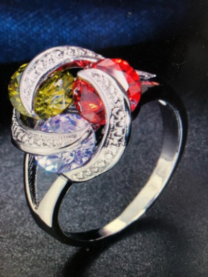 Unique Jewels vintage ruby multicolor diamond gemstone twisted knot infinity engagement wedding cocktail fashion silver plated emerald amethyst statement ring Image 4