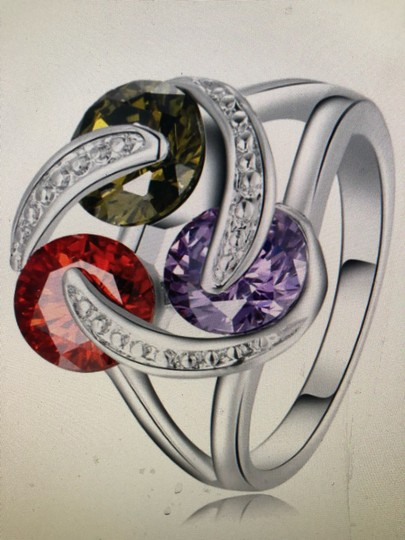Unique Jewels vintage ruby multicolor diamond gemstone twisted knot infinity engagement wedding cocktail fashion silver plated emerald amethyst statement ring Image 5