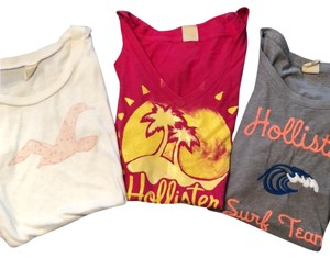 Hollister T Shirt grey, pink and white