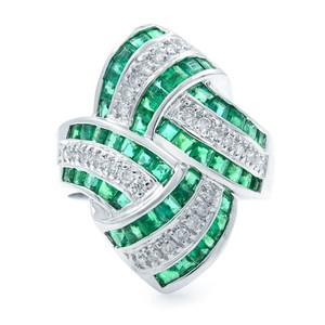Other Green Emerald Diamond STATEMENT Ring 18KW 1.92ct
