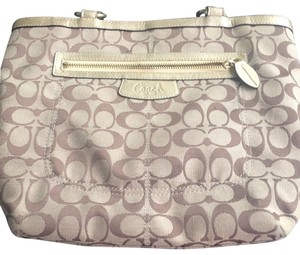 Coach Beige, Gold, Brown Letters Travel Bag