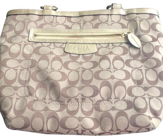 Coach Beige, Gold, Brown Letters Travel Bag Image 0