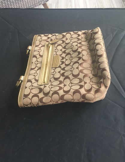 Coach Beige, Gold, Brown Letters Travel Bag Image 2
